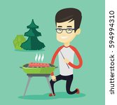 asian man cooking steak on... | Shutterstock .eps vector #594994310