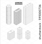 vector isometric buildings set. ... | Shutterstock .eps vector #595000736