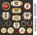 golden badges and labels...   Shutterstock .eps vector #595001090