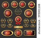 golden badges and labels... | Shutterstock .eps vector #595001108