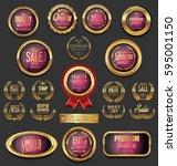 golden badges and labels... | Shutterstock .eps vector #595001150