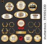 golden badges and labels... | Shutterstock .eps vector #595001330