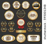 golden badges and labels... | Shutterstock .eps vector #595001348