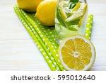 lemonade with lemons and mint...   Shutterstock . vector #595012640