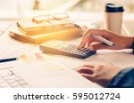 women are working with a... | Shutterstock . vector #595012724