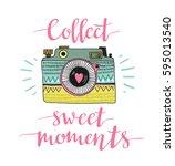 ornamental retro photo camera... | Shutterstock .eps vector #595013540