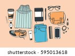 hand drawn fashion illustration.... | Shutterstock .eps vector #595013618