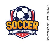 soccer championship logo ... | Shutterstock .eps vector #595013624