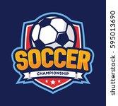 soccer championship logo ... | Shutterstock .eps vector #595013690