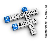 Social Media Network  (blue-white cubes crossword series) - stock photo