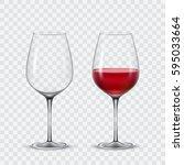 set transparent wine glasses | Shutterstock . vector #595033664