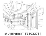 sketch streaks lift  black and... | Shutterstock .eps vector #595033754