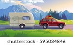 illustration of a mountain... | Shutterstock . vector #595034846