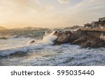 marseille storm of mistral on... | Shutterstock . vector #595035440