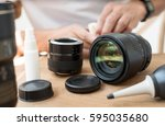 lens and camera cleaning. | Shutterstock . vector #595035680