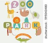 vector illustration of zoo... | Shutterstock .eps vector #595043480
