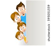 family with a banner smiling  ... | Shutterstock .eps vector #595051559