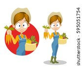 cute young farmer girl with a...   Shutterstock .eps vector #595051754