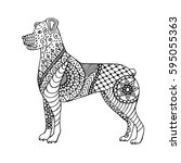 Hand Drawn Dog Isolated On...
