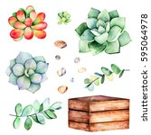 watercolor collection with... | Shutterstock . vector #595064978