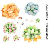watercolor collection with... | Shutterstock . vector #595064990