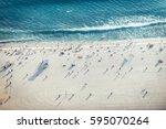 santa monica beach  drone view  ... | Shutterstock . vector #595070264