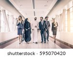 multiethnic group of... | Shutterstock . vector #595070420