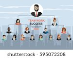 successful teamwork  hierarchy... | Shutterstock .eps vector #595072208