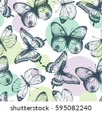 seamless pattern with graphic... | Shutterstock .eps vector #595082240