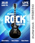 vector rock festival flyer... | Shutterstock .eps vector #595085543