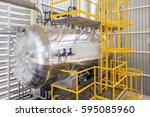 gas boilers in gas boiler room... | Shutterstock . vector #595085960