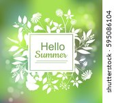 hello summer green card design... | Shutterstock .eps vector #595086104
