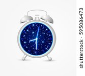 alarm clock with night sky and... | Shutterstock .eps vector #595086473
