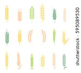cereals icon set with rice ... | Shutterstock .eps vector #595089530