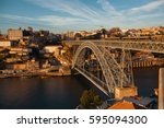 view of old porto downtown and... | Shutterstock . vector #595094300