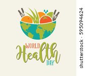 world health day global bowl of ... | Shutterstock .eps vector #595094624