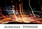 abstract night lights... | Shutterstock . vector #595096040