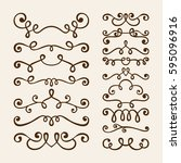 vector hand draw vintage floral ... | Shutterstock .eps vector #595096916