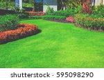 landscape formal  front yard is ... | Shutterstock . vector #595098290