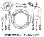 vintage food service equipment... | Shutterstock .eps vector #595099244