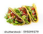 traditional mexican tacos with... | Shutterstock . vector #595099379