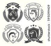 medieval heraldry coat of arm... | Shutterstock .eps vector #595099409