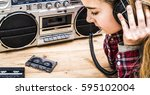 retro music header with young... | Shutterstock . vector #595102004