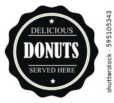delicious donuts served here... | Shutterstock .eps vector #595105343