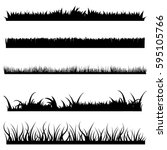 vector set of black grass... | Shutterstock .eps vector #595105766