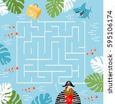 labyrinths. find the treasure.... | Shutterstock .eps vector #595106174