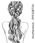 two french braid hairstyle | Shutterstock .eps vector #595108724