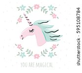 unicorn card template with... | Shutterstock .eps vector #595108784