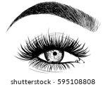 fashion woman eye false... | Shutterstock .eps vector #595108808