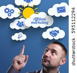 Small photo of Business, Technology, Internet and marketing. Young businessman thinking about: Affiliate marketing